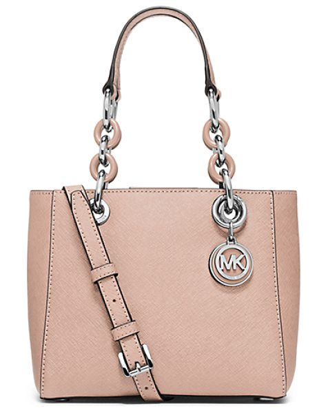 Michael Kors Cynthia Extra-Small Saffiano Leather Satchel in pink - A Fresh Design With Ladylike Flair Our Streamlined...