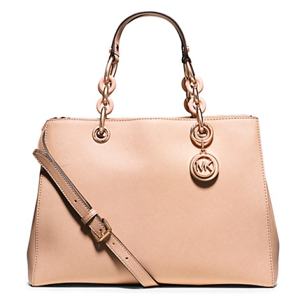 Michael Kors Cynthia medium saffiano leather satchel handbag