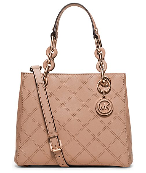 Michael Kors Cynthia small saffiano leather satchel handbag in pink - A fresh design with ladylike flair our streamlined...