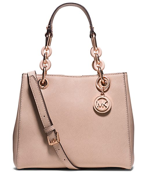 Michael Kors Cynthia Small Saffiano Leather Satchel in pink - Everlasting Luxe. Our Sweet Cynthia Bag Takes A Romantic...