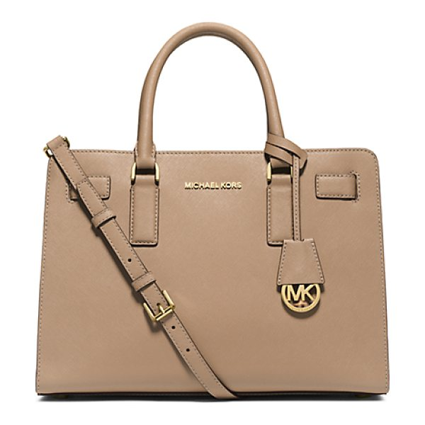 Michael Kors Dillon saffiano leather satchel handbag in natural - Walking the line between ladylike and luxe our Dillon...