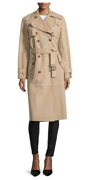 Michael Kors Double-breasted trench coat in sand - Michael Kors suede trench coat. Spread collar;...