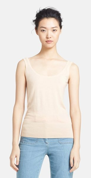 Michael Kors featherweight cashmere tank in nude - A deep scooped neck styles a whisper-weight cashmere...