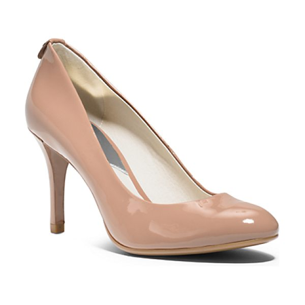 Michael Kors Flex Patent-Leather Mid-Heel Pump in pink - Meet Your Sole-Mate. This Point-Toe Pump Lends Instant...