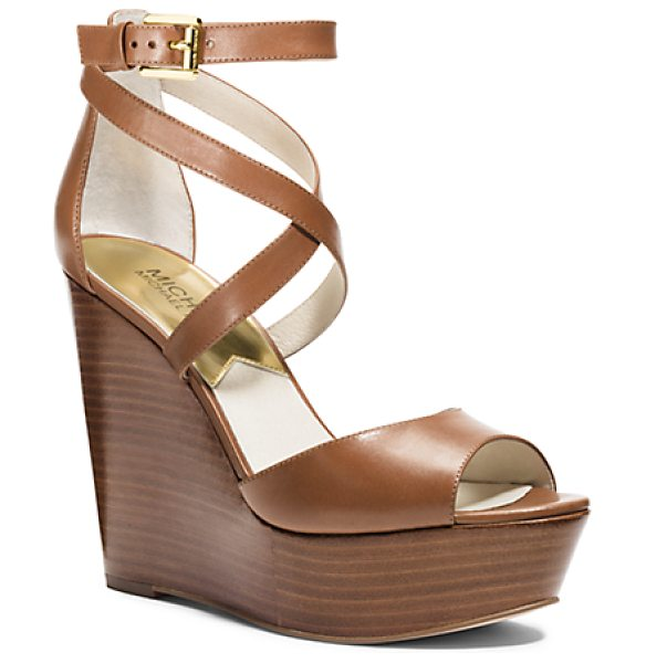 Michael Kors Gabriela Leather Wedge in brown - Explore High-Fashion Territory In Our Gabriela Wedges....