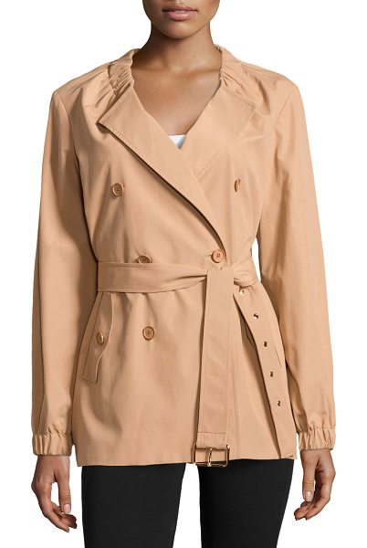 Michael Kors Gathered-neck belted trench coat in suntan - Michael Kors tech trench. Gathered collar; peaked...