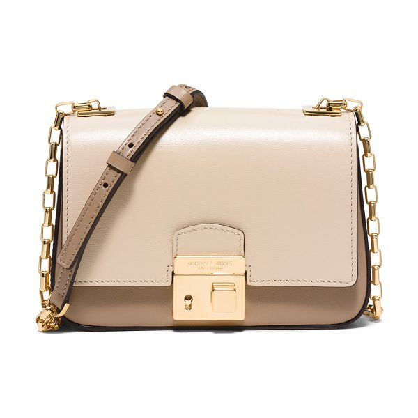 Michael Kors Collection Gia small chain-strap flap bag in dune - Michael Kors palmelatto French two-tone calfskin...