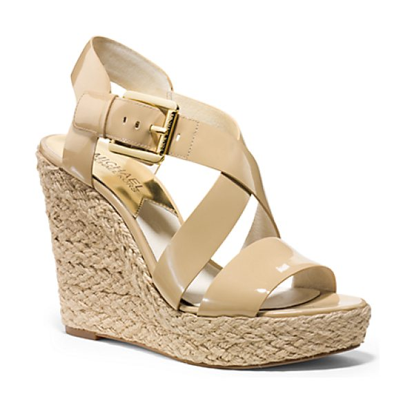 Michael Kors Giovanna Patent-Leather Espadrille Wedge in natural - Patent Perfection. We Love How This Modern Take On The...