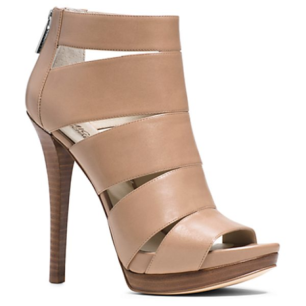 Michael Kors Gisele Leather Sandal in natural - Step It Up With Our Towering Gisele Sandal. Luxe...