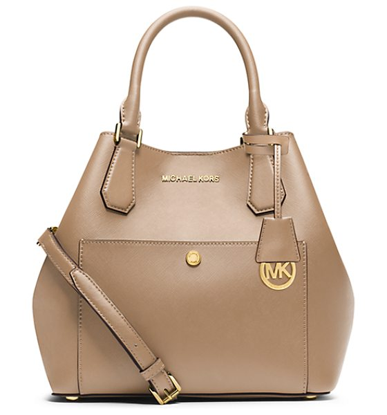 Michael Kors Greenwich Large Saffiano Leather Satchel in natural - The Season's Byword For Glamorous And On-The-Go Our...