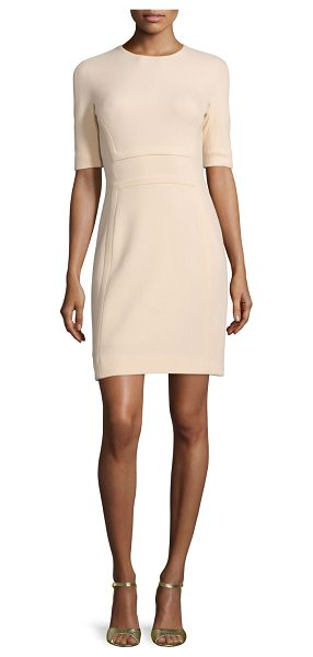 "Michael Kors Half-Sleeve Jewel-Neck Sheath Dress in pink - Michael Kors stretch-crepe boucle dress. Approx. 39""L..."