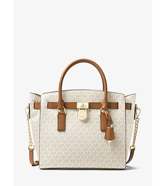MICHAEL KORS Hamilton Large Logo Satchel in natural - Our Hamilton Logo Satchel Is A Sophisticated Alternative...