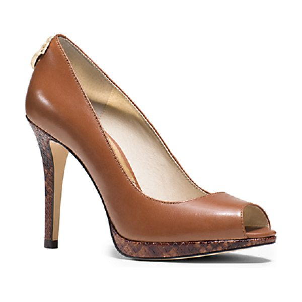 MICHAEL KORS Hamilton Leather Peep-Toe Pump - Sultry Yet Sophisticated Our Hamilton Peep-Toe Pumps Are...
