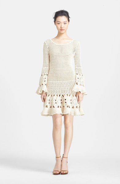 Michael Kors hand crochet cashmere & cotton dress in vanilla - Flowery crochet trims the long bell sleeves and flared...