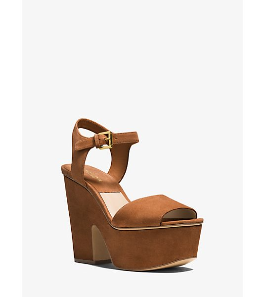 Michael Kors Collection Harley Suede Sandal in brown - Imagined In Supple Suede Our Harley Sandals Are The...