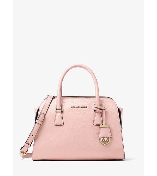 MICHAEL KORS Harper Medium Leather Satchel in pink - Crafted From Pebbled Leather With Tailored Top Handles...