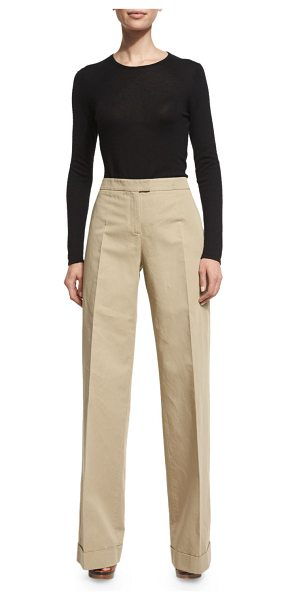 Michael Kors High-Waist Wide-Leg Pants in sand - Michael Kors cotton-blend pants. Back button-welt...