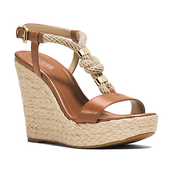 Michael Kors Holly Rope-Trim Leather Wedge in brown - Tie The Knot. Our Holly Sandals Are Your New Sole Mates....