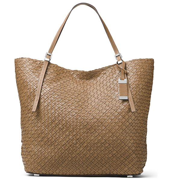 Michael Kors Hutton Large Woven Leather Tote Bag in luggage - Michael Kors woven calfskin tote bag. Palladium plated...