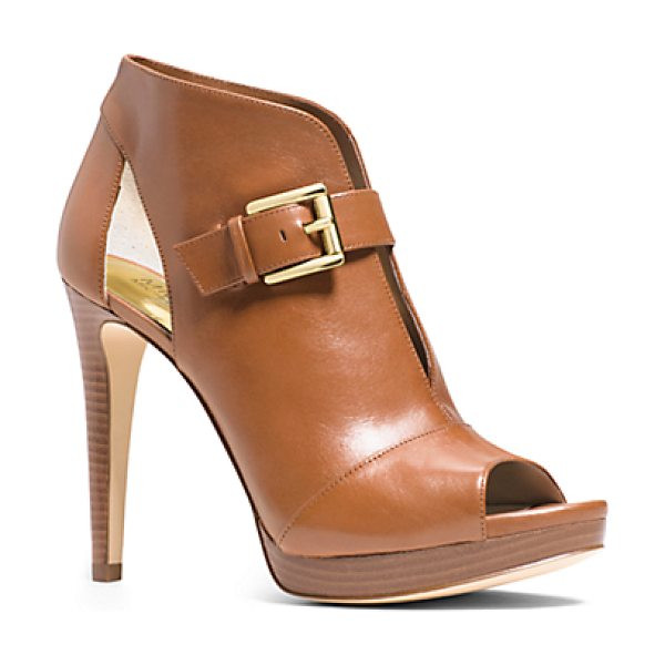 Michael Kors Isabella Leather Pump in brown - Peek-A-Boo Chic. Meet Our Isabella Pumps Designed In...