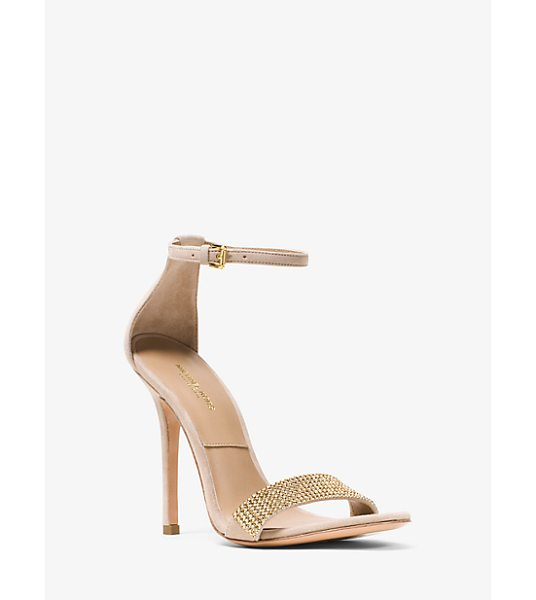 Michael Kors Jacqueline Embellished Suede Sandal in gold - Our Jacqueline Sandals Balance Simplicity With...