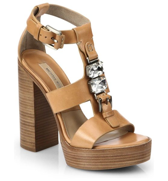 Michael Kors Jayden runway leather platform sandals in peanut - Crafted in rich Italian leather, these stacked-heel...