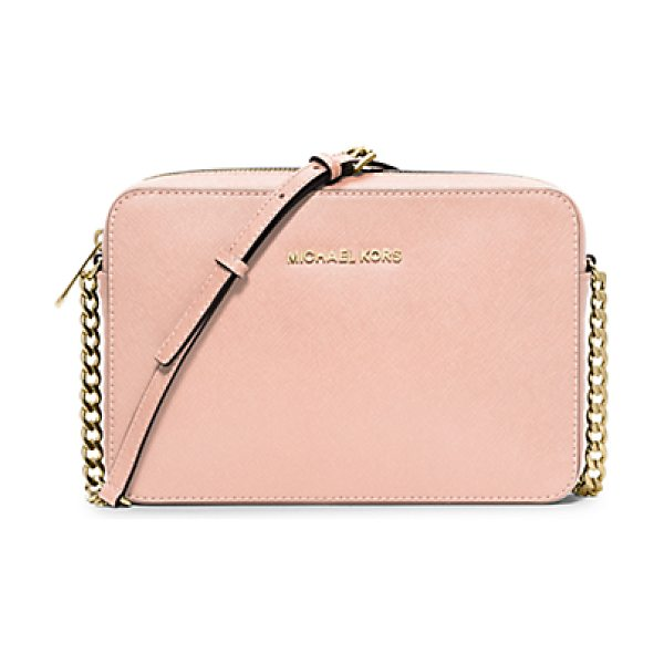 Michael Kors Jet set large saffiano leather crossbody in pastel pink