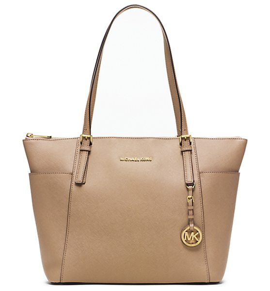 Michael Kors Jet Set Large Top-Zip Saffiano Leather Tote in natural - Jet Setters Take Note: This Sophisticated Multi-Tasking...
