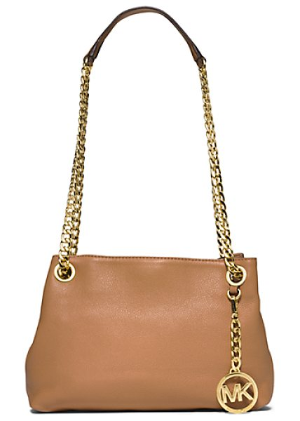 Michael Kors Jet Set Medium Leather Messenger in brown - A Feminine Silhouette And Sumptuous Leather...