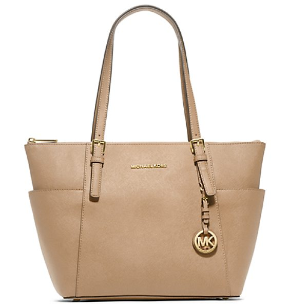 Michael Kors Jet Set Top-Zip Saffiano Leather Tote in natural - Jet Setters Take Note: This Sophisticated Multi-Tasking...