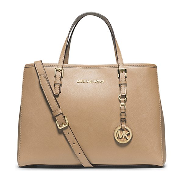Michael Kors Jet Set Travel Saffiano Leather Medium Tote in natural - Prim And Proper Meets Roomy And Relaxed With Our Jet Set...