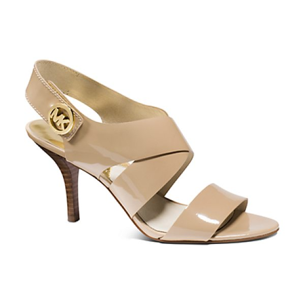 Michael Kors Joselle Patent-Leather Sandal in natural - With A Glossy Patent-Leather Finish And Sensible...