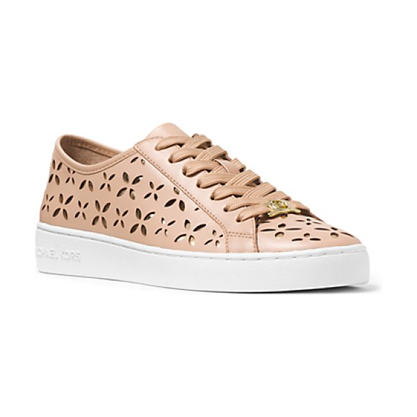 MICHAEL KORS Keaton Perforated-Leather Sneaker in gold - These Sophisticated Sneakers Will Add Effortless Chic To...