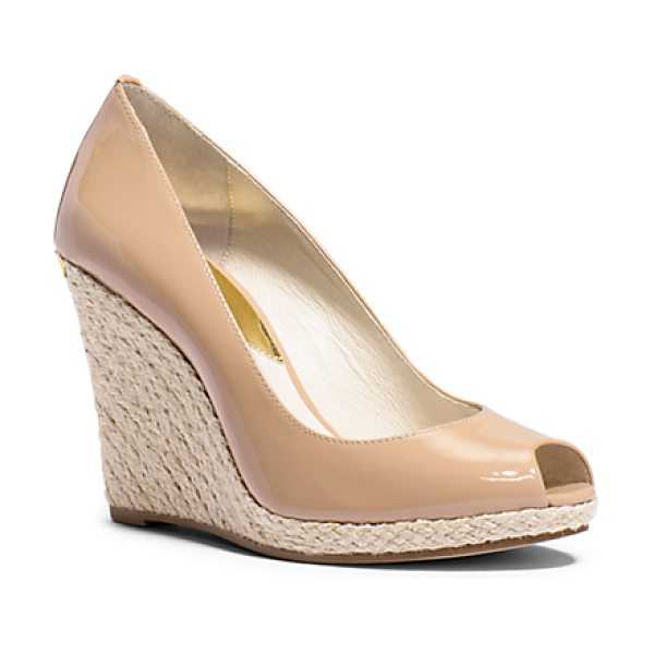 Michael Kors Keegan Patent-Leather Peep-Toe Wedge in natural - Opposing Textures Combine To Elegant Effect On Our...