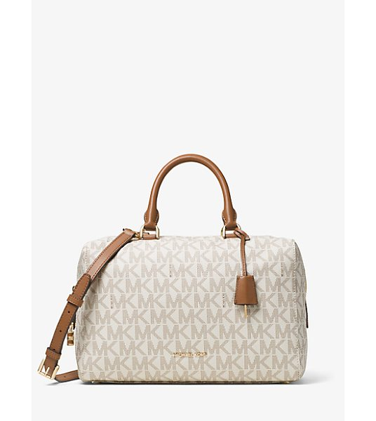Michael Kors Kirby Large Logo Satchel in natural - Kirby Is A Sophisticated Satchel With Signature Appeal....