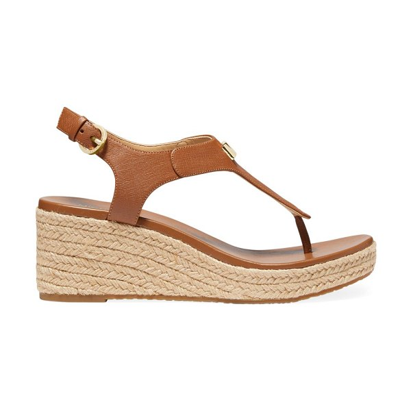 Michael Kors laney leather espadrille thong sandals in luggage