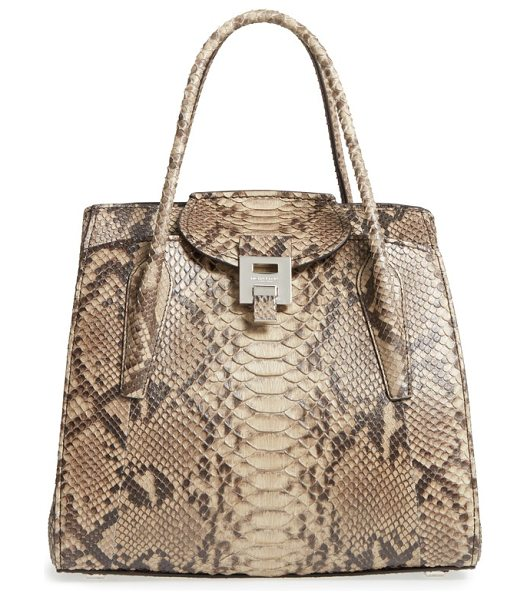 Michael Kors large bancroft genuine python satchel in sand - Genuine python adds luxe texture and a strikingly...