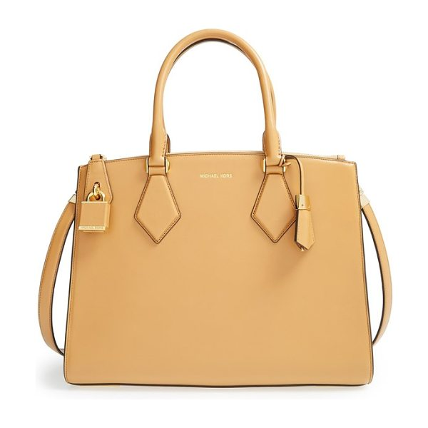 Michael Kors Large casey leather satchel in vanilla - Smooth leather elevates an impeccably structured satchel...