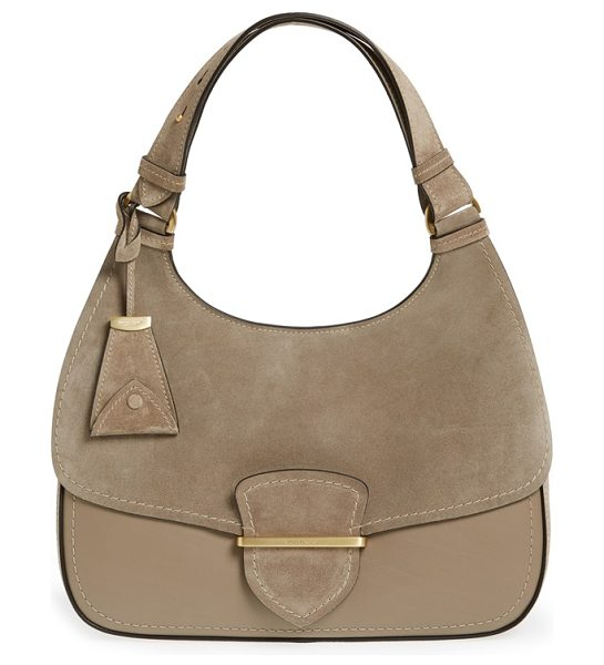 Michael Kors 'large josie' leather & suede shoulder bag in dark taupe