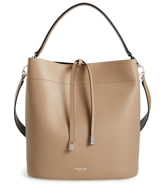 Michael Kors Large miranda leather shoulder tote in dune - Weighted ties secure the top of a structured tote cut...