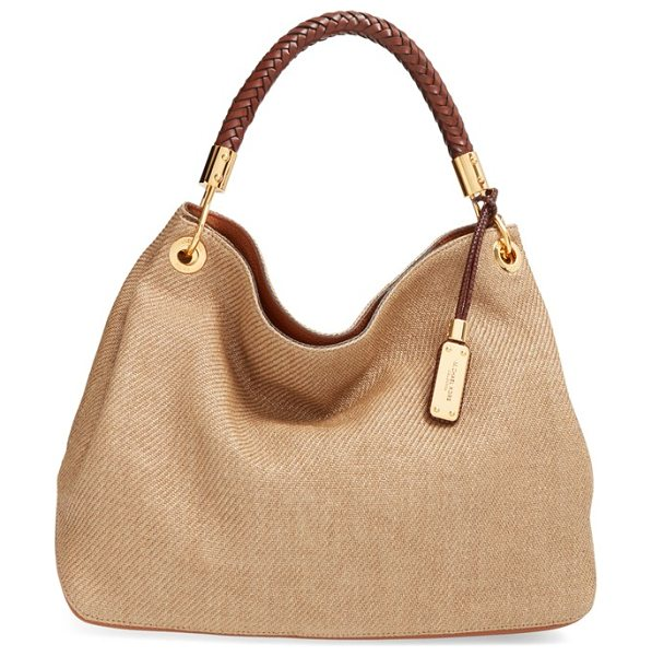 Michael Kors Large skorpios woven hobo in luggage - A plaited-leather shoulder strap tops a slouchy...