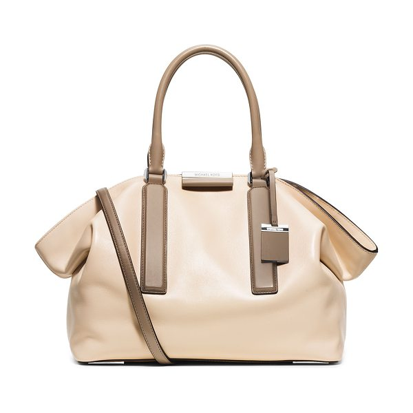 Michael Kors Collection Michael kors lexi large east-west satchel bag in vanilla -  Michael Kors palm French calfskin satchel bag. Rolled...