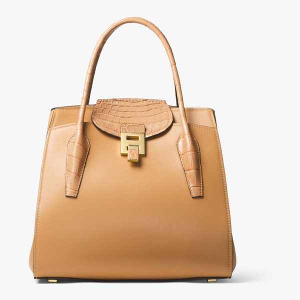 Michael Kors Bancroft Large Calf Leather And Alligator Satchel in brown - The Bancroft Delivers Elevated Elegance For Every Day...