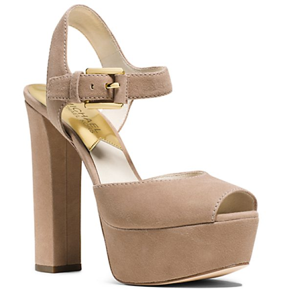 Michael Kors London Suede Platform Peep-Toe Sandal in natural - Bring Your Sartorial Style To New Heights With These...