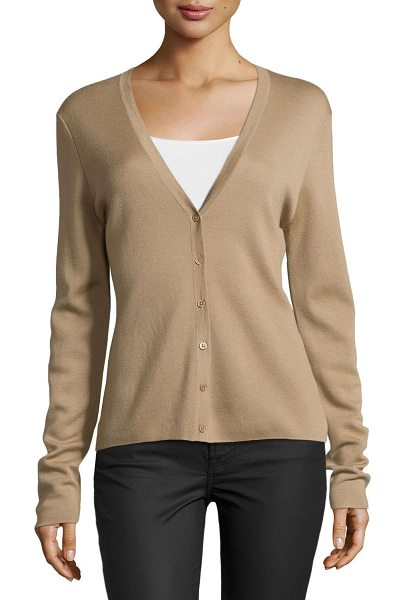 Michael Kors Long-sleeve cardigan in fawn - Michael Kors cashmere cardigan. V neckline; button...