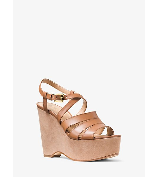 MICHAEL KORS Mariana Leather And Suede Wedge in brown - A Stunning Suede-Wrapped Wedge Heel Marries Slender...