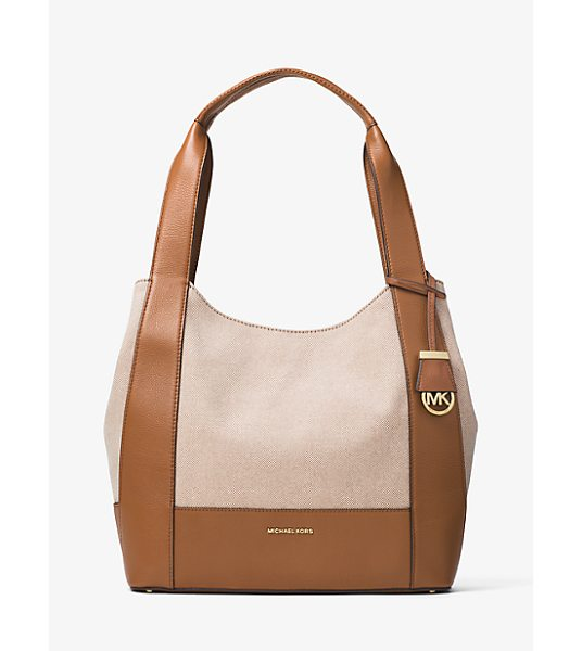 Michael Kors Marlon Large Canvas And Leather Shoulder Tote in natural - With Smooth Leather Trim And A Clean-Lined Shape Our...