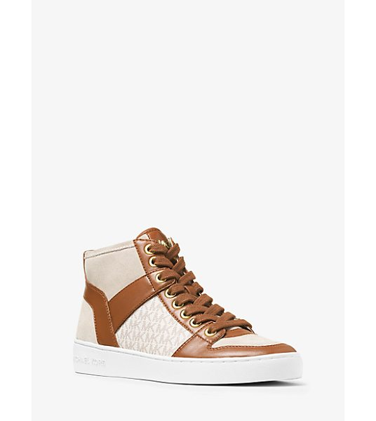 Michael Kors Matty Logo Leather And Suede High-Top Sneaker in natural - A Signature Take On A Sport-Luxe Favorite Our Matty...