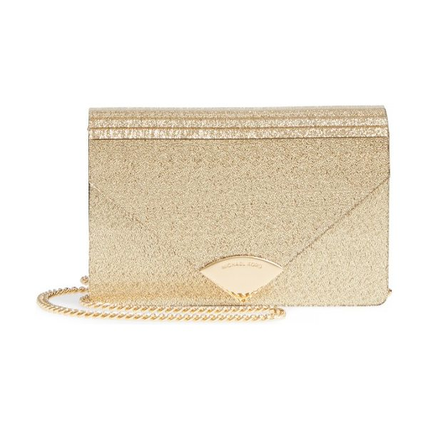 MICHAEL KORS medium barbara metallic envelope clutch in gold - Add a little vintage Deco to your handbag collection...