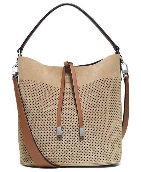 MICHAEL KORS Medium miranda perforated suede bucket bag - Buttery-soft suede looks just right for the upcoming...